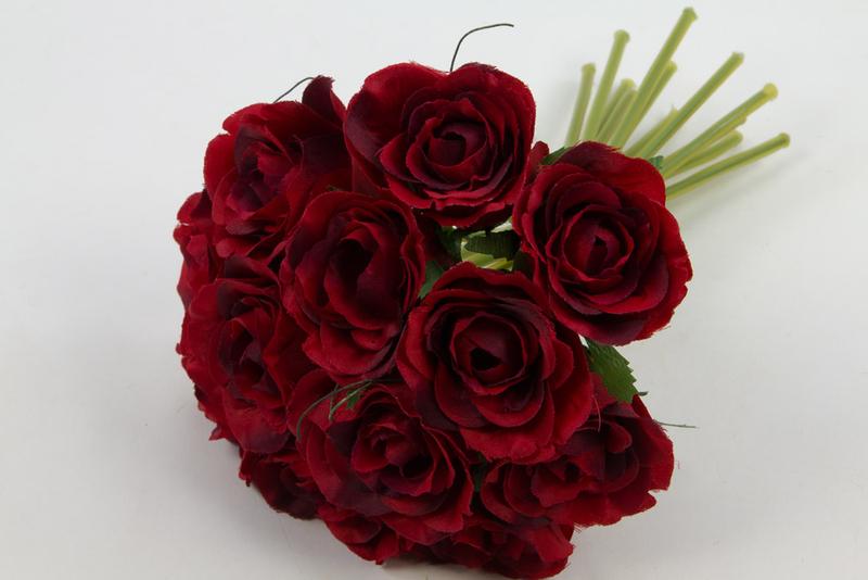 Rosenbouquet 24cm Rot Mit 12 Rosen Dp Kunstblumen Künstlicher Strauß Rosen Rosenstrauß