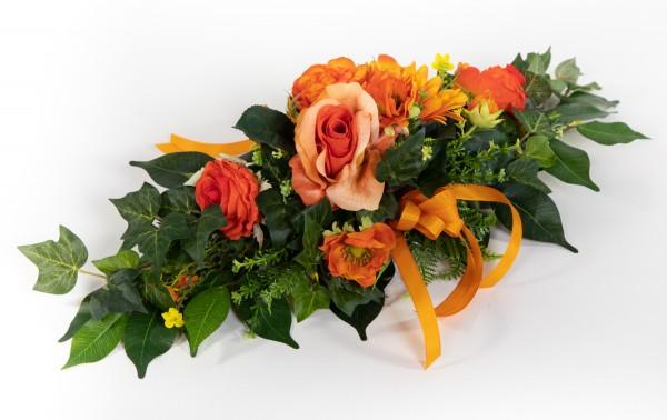 Tischgesteck länglich 60cm orange mit Rosen, Gerbera und Anemonen Kunstblumen künstliche Blumen Orch