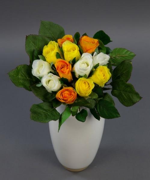 Rosenstrauß 22cm weiß-gelb-orange AD Kunstblumen künstlicher Strauß Seidenblumen