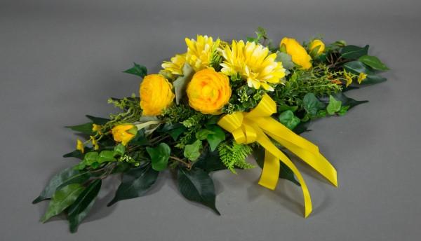Tischgesteck länglich 60cm gelb mit Gerbera und Ranunkeln Kunstblumen Seidenblumen künstliche Blumen