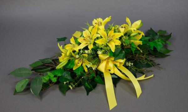 Tischgesteck länglich 60cm mit Lilien gelb Kunstblumen Seidenblumen künslitche Blumen Lilie