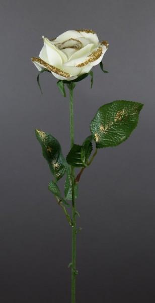 12 Stück Rose 62cm mit Glitter creme-weiß PF Kunstblumen Seidenblumen künstliche Blumen