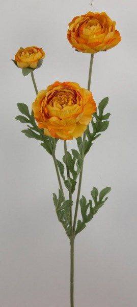 Ranunkelzweig 65cm gelb JA Kunstblumen Seidenblumen künstliche Blumen Ranunkel