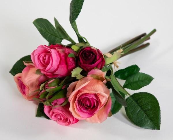Rosenbund / Rosenstrauß 28cm rosa-pink AD Kunstblumen künstliche Rosen Blumen Strauß