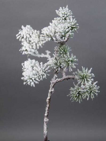 Japanischer Pinienzweig mit Schnee 36cm JA Kunstzweig künstlicher Tannenzweig künstliche Pinie Tanne