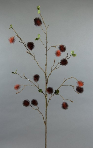 Pompomzweig 78cm bordeaux-orange AR Kunstzweig künstlicher Zweig Kunstblumen Kunstpflanzen