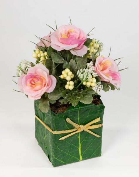 Rosengesteck 20x15cm rosa im Blatttopf LM Kunstblumen Seidenblumen künstliche Blumen
