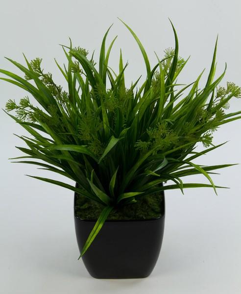 Dolden-Grasbusch 36cm im schwarzen Dekotopf FT Kunstpflanzen Kunstgras