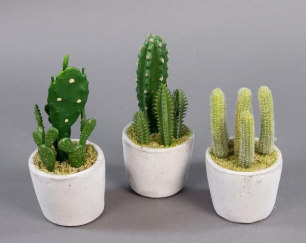 3er Kakteen-Set 15/18/20cm im Steintopf DP Kunstpflanzen künstliche Kakteen Kaktus Pflanzen