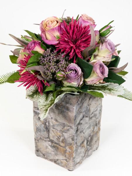 Strauß Amsterdam Exklusiv 32x28cm helllila-fuchsia mit 16 Rosen Kunstblumen künstlicher Blumenstrauß