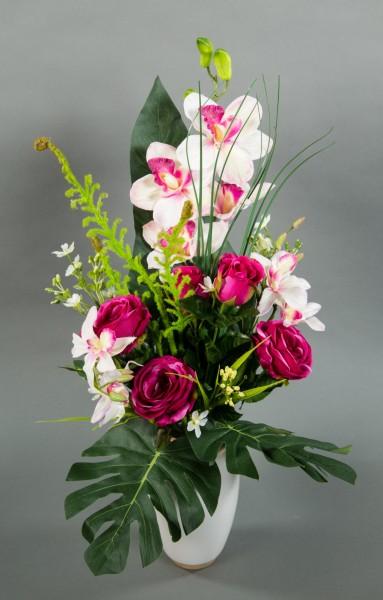 Orchideen- Rosenstrauß 60x42cm fuchsia-weiß LM Kunstblumen künstlicher Orchideenstrauß Strauß