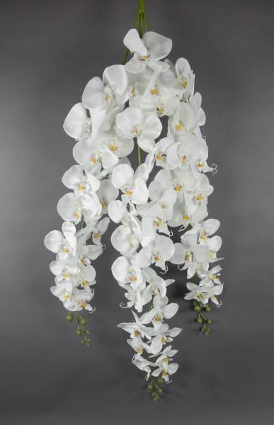 Orchideenranke 110x30cm weiß mit 54 Blüten GA Kunstblumen künstliche Orchidee Orchideen Blumen