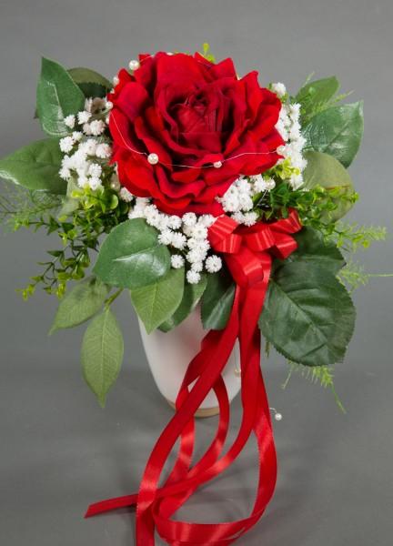 Strauß mit großer Rose 36x25cm rot Kunstblumen künstlicher Strauß Blumenstrauß Rosenstrauß