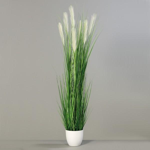 Pampasgras 180cm im weißen Dekotopf DP Dekogras Kunstgras künstliches Gras Kunstpflanzen