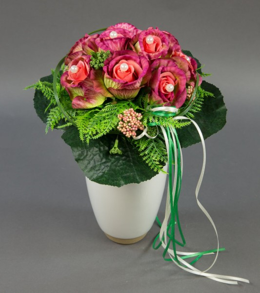 Brautstrauß rund mit mit Rosen mit Perlen rosa-fuchsia Kunstblumen Seidenblumen künstliche Blumen