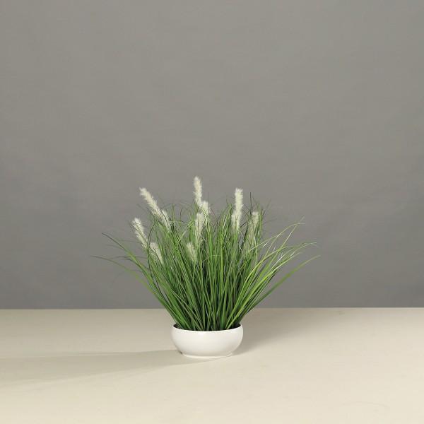 Grasarrangement 42x38cm in weißer Schale DP Kunstpflanzen Kunstgras Dekogras künstliches Gras