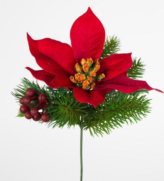 12 Stück Weihnachtsstern- Beeren- Tannenpick 22cm rot PM künstliche Tanne Blumen Kunstblumen Tannenz