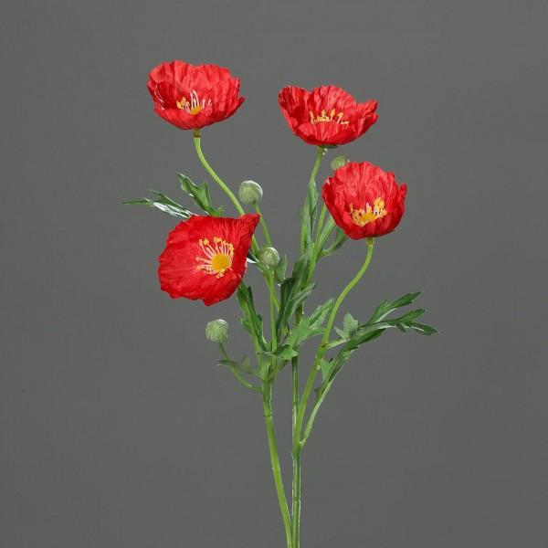 Mohnzweig 56cm rot DP Kunstblumen Seidenblumen künstliche Blumen künstlicher Mohn
