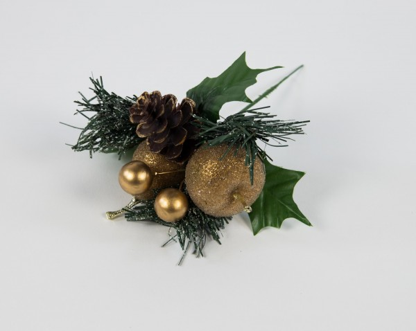 Weihnachtspick geeist 20cm gold mit Apfel Birne Beeren und Tanne LM
