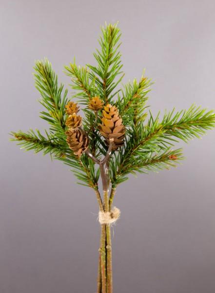 Tannenzweig und Zapfenpick 23cm PF künstlicher Zweig mit Tanne und Zapfen Kunststoff Spritzguss