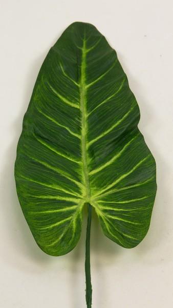 24 Stück - Elefantenohr-Blatt 60cm grün-gelb GA künstliches Blatt