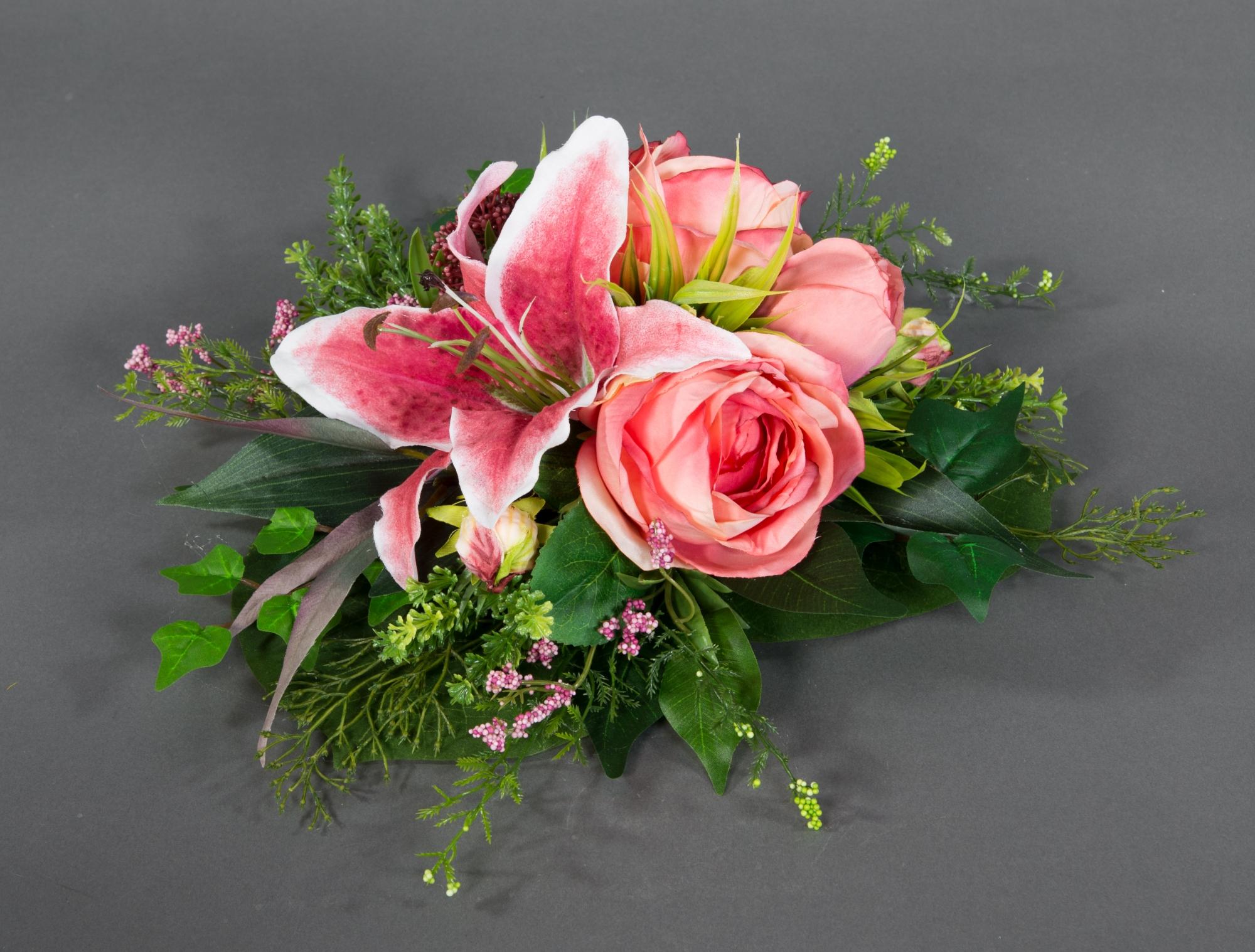 Rosengesteck 20x15cm rosa im Blatttopf LM Kunstblumen künstliche Blumen Gesteck