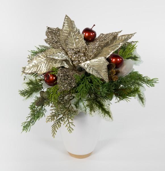 Goldener Weihnachtssternstrauß 40x28cm künstlicher handgebundener Strauß Blumenstrauß Kunsblumen