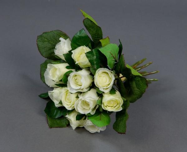 Rosenstrauß 22cm weiß-creme AD Kunstblumen künstlicher Strauß Seidenblumen