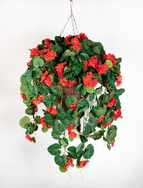 Pflanzampel Gr.L mit Geranie 45cm / 90cm rot Kunstpflanzen Hängeampel Blumenampel künstliche Blumen