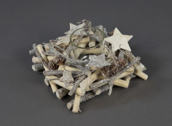 Teelicht Kerzenhalter White Christmas 15x7cm GA Kerzenständer Teelichthalter Weihnachten