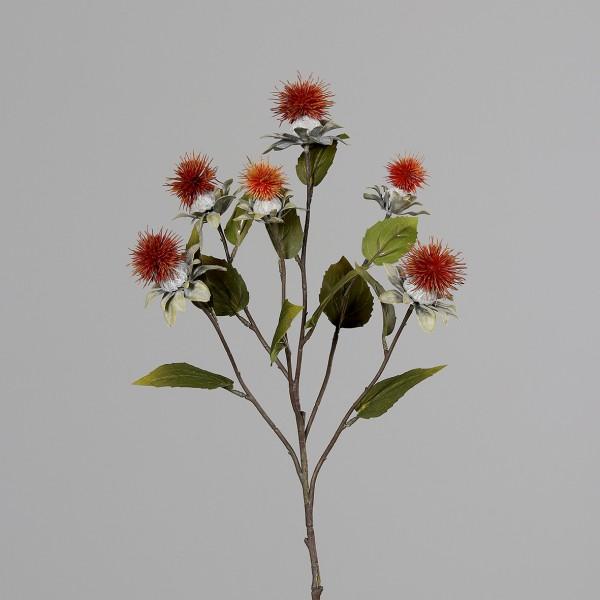 Kugeldistelzweig 78cm orange DP Kunstblumen künstliche Blumen Distel Kugeldistel Kunstzweig Zweig