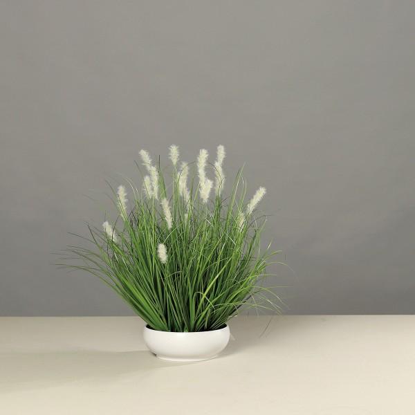 Grasarrangement 50x45cm in weißer Schale DP Kunstpflanzen Kunstgras Dekogras künstliches Gras