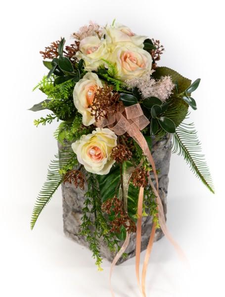 Brautstrauß / Rosenstrauß 60cm/35cm x 32cm peach Kunstblumen künstlicher handgebundener Strauß