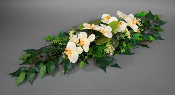 Orchideen-Tischgesteck 90x32cm salmon Kunstblumen künstliche Blumen künstliches Gesteck