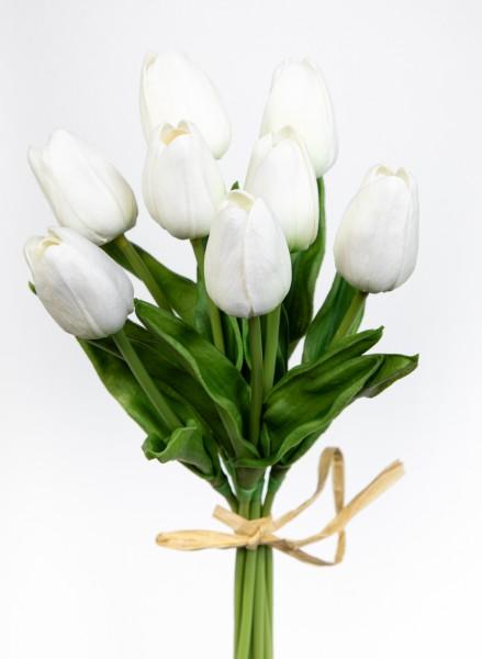 Tulpenbund mit 8 Tulpen PU Real Touch 34cm weiß ZF Kunstblumen künstliche Blumen