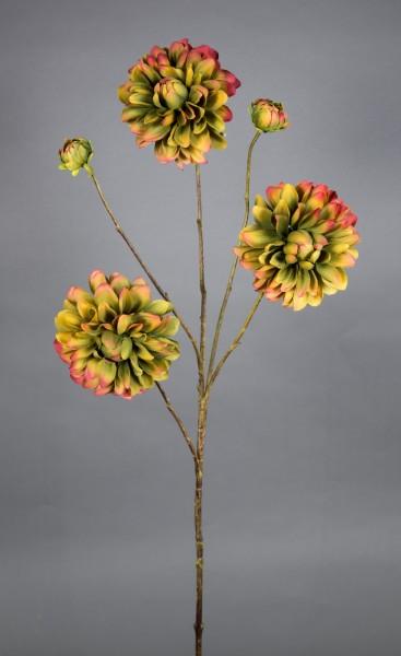 Dahlienzweig 90cm grün-bordeaux CG Kunstblumen künstliche Blumen Dahlie