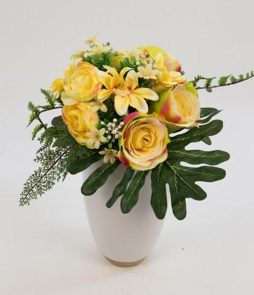 Rosen-Ranunkel-Dahlien-Bouquet 24cm gelb DP Kunstblumen künstlicher Strauß Seidenblumen