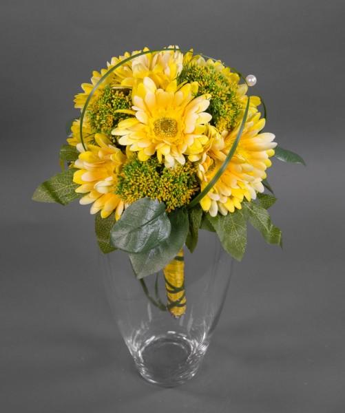 Gerberastrauß / Brautstrauß 40x32cm gelb - Kunstblumen künstlicher Strauß Blumenstrauß