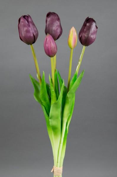 Tulpenbund Real Touch 45cm lila GA Kunstblumen künstliche Blumen Tulpen
