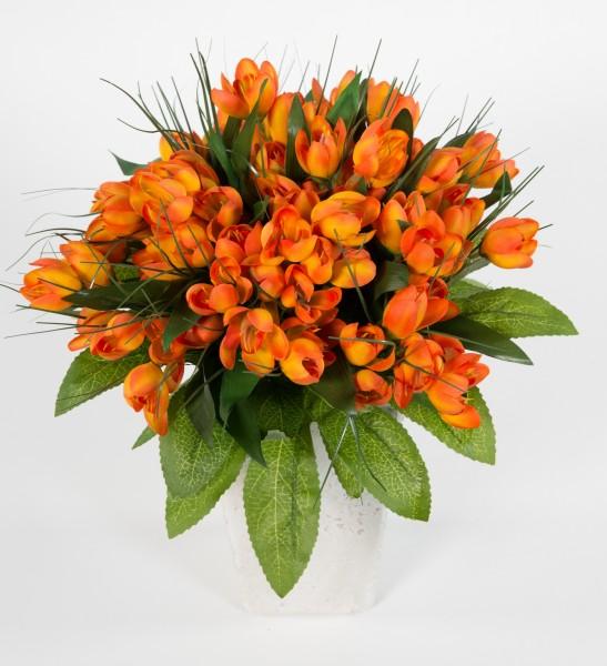 Krokusstrauß 32x30cm orange Frühlingsstrauß Kunstblumen künstlicher handgebundener Strauß