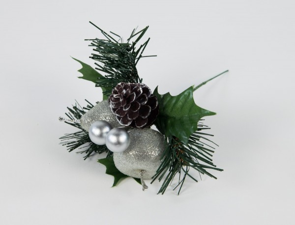 Weihnachtspick geeist 20cm silber mit Apfel Birne Beeren und Tanne LM