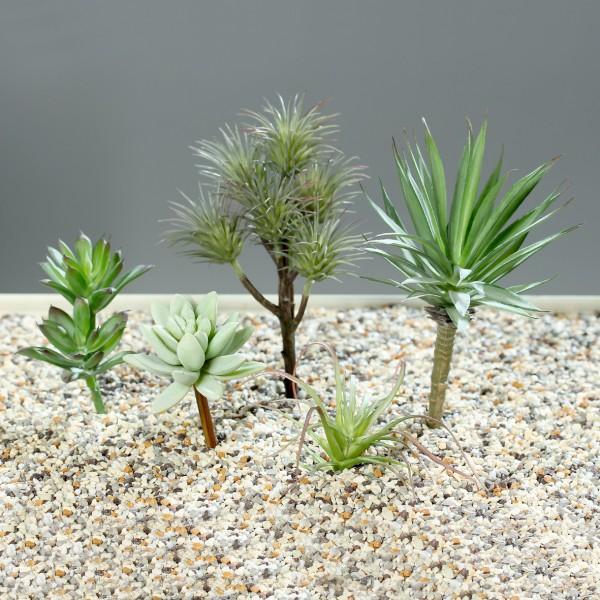 5er Sukkulenten-Set 12cm bis 20cm -ohne Topf- DP Kunstpflanzen künstliche Sukkulente Pflanzen