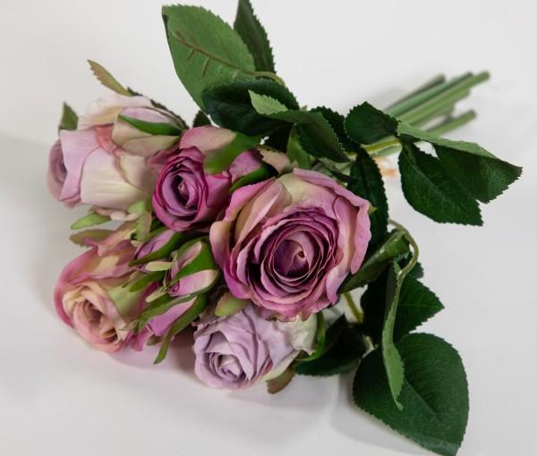 Rosenbund / Rosenstrauß 28cm helllila AD Kunstblumen künstliche Rosen Blumen Strauß