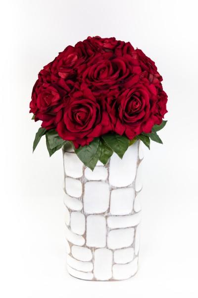 Baccararosenstrauß Exklusiv 50x36cm mit 16 Baccararosen JA Kunstblumen künstliche Blumen Strauß