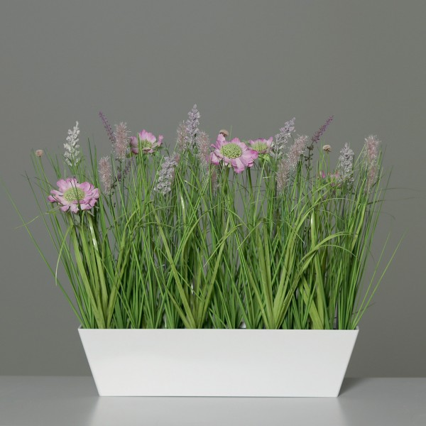 Wiesenblumengras 50x42x20cm pink in Dekoschale DP Kunstblumen Frühlingsblumen Kunstgras