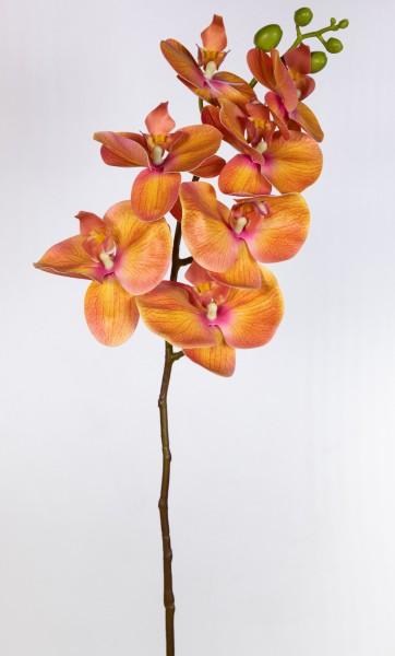 Orchideenzweig Real Touch 94cm orange ZJ Kunstblumen künstliche Orchidee Orchideen Blumen