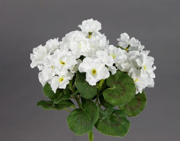 Geranie 26cm weiß -ohne Topf- ZF Kunstpflanzen Kunstblumen künstliche Blumen Pflanzen Pelargonium