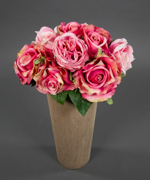 Rosenstrauß 38x30cm pink-rosa GA Kunstblumen künstliche Rosen Blumen Strauß Blumenstrauß