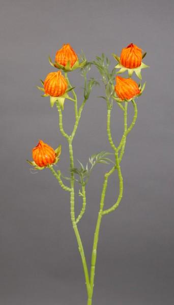 Hibiskuszweig 56cm orange LM Kunstblumen künstliche Blumen künstlicher Hibiskus Eibisch Eibischzweig