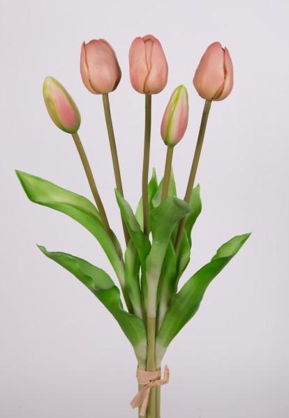 Tulpenbund Real Touch 36cm rosa-peach FT Kunstblumen künstliche Blumen Tulpen